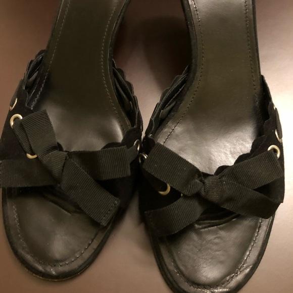 Coach Shoes - Coach open toe suede mules